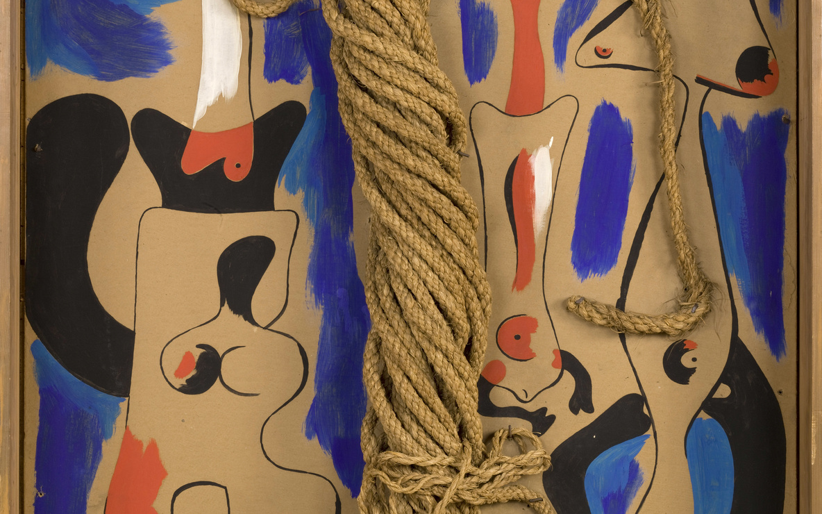 Joan Miró. *Rope and People, I.* 1935. Oil on cardboard mounted on wood, with coil of rope. 41 1/4 × 29 3/8″ (104.8 × 74.6 cm). Gift of the Pierre Matisse Gallery. © 2016 Successió Miró / Artists Rights Society (ARS), New York / ADAGP, Paris