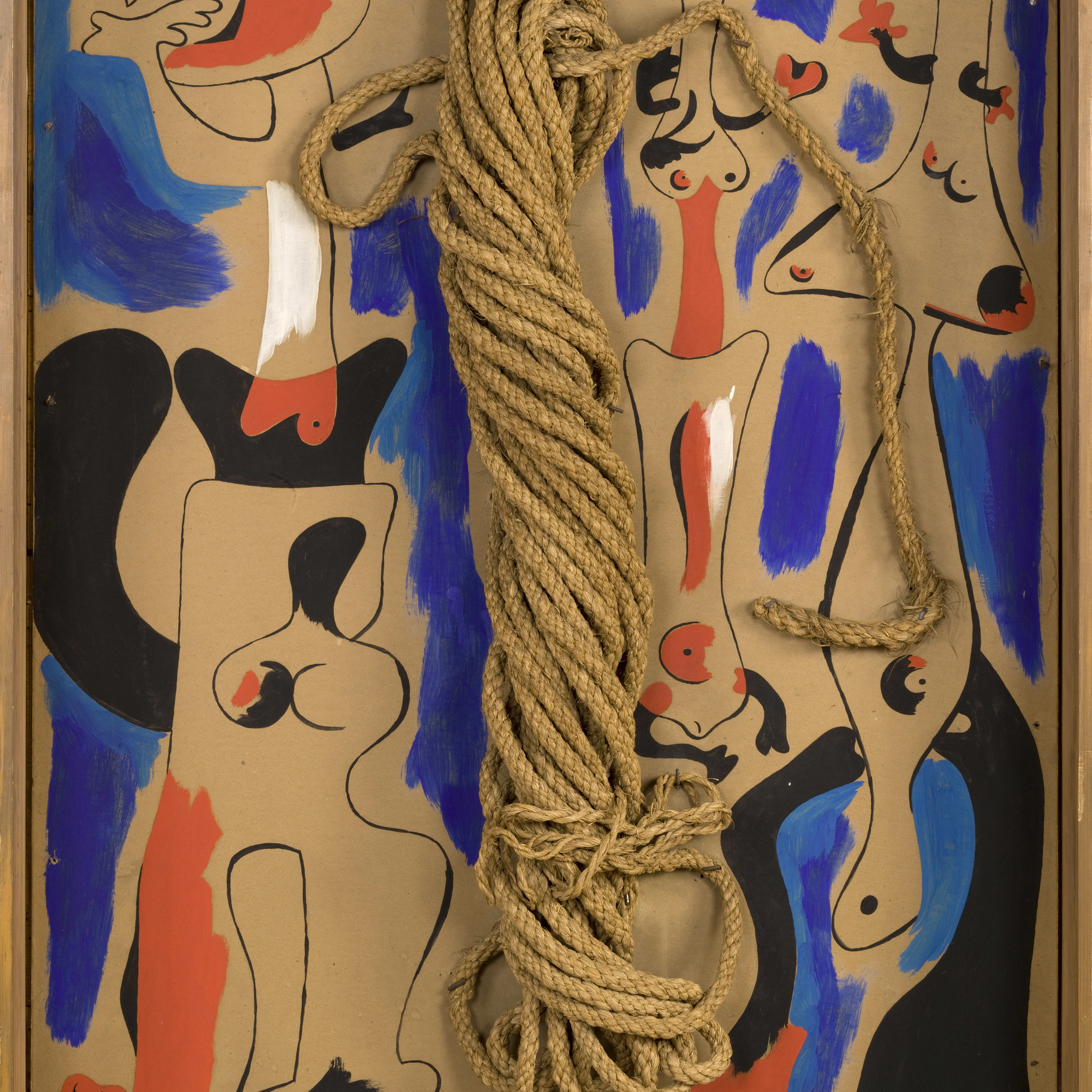 Joan Miró. Rope and People, I. 1935. Oil on cardboard mounted on wood, with coil of rope. 41 1/4 × 29 3/8″ (104.8 × 74.6 cm). Gift of the Pierre Matisse Gallery. © 2016 Successió Miró / Artists Rights Society (ARS), New York / ADAGP, Paris