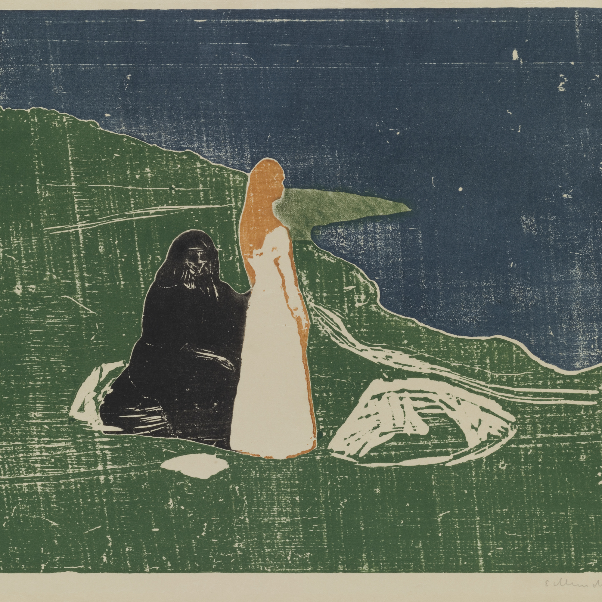 Edvard Munch. Two Women on the Shore (To kvinner ved stranden). 1898. Woodcut. Purchase. © 2016 The Munch Museum / The Munch-Ellingsen Group / Artists Rights Society (ARS), New York