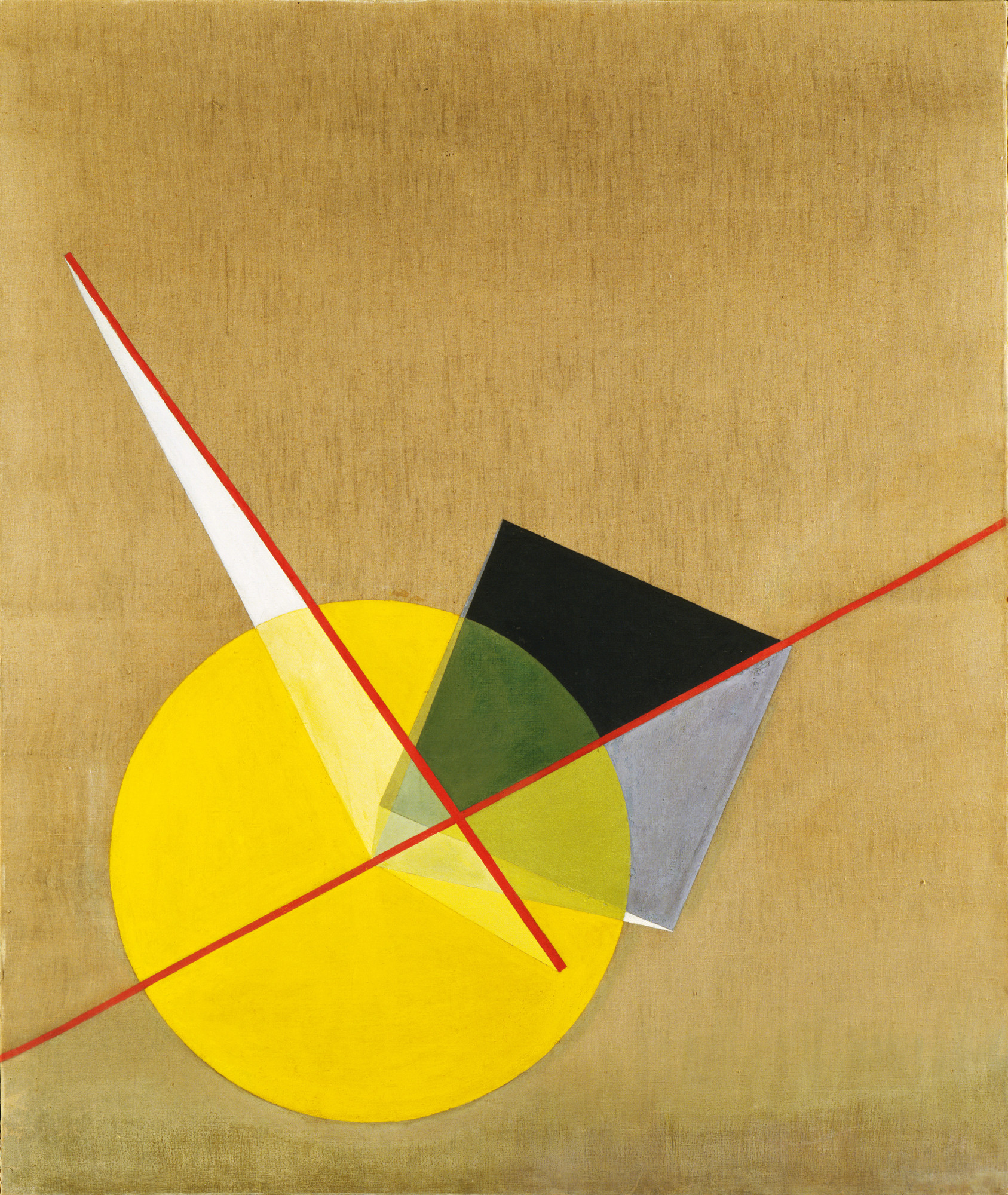 László Moholy-Nagy. Yellow Circle. 1921. Oil on canvas. 53 1⁄8 × 45″ (135 × 114.3 cm). The Riklis Collection of McCrory Corporation. © 2016 Artists Rights Society (ARS), New York / VG Bild-Kunst, Bonn