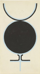 Jo Baer. Sex Symbol. 1961. Gouache and pencil on paper, 6 × 3 1/4″ (15.3 × 8.3 cm). The Museum of Modern Art. The Judith Rothschild Contemporary Drawings Collection Gift (Purchase, and gift, in part, of The Eileen and Michael Cohen Collection). © 2007 Jo Baer