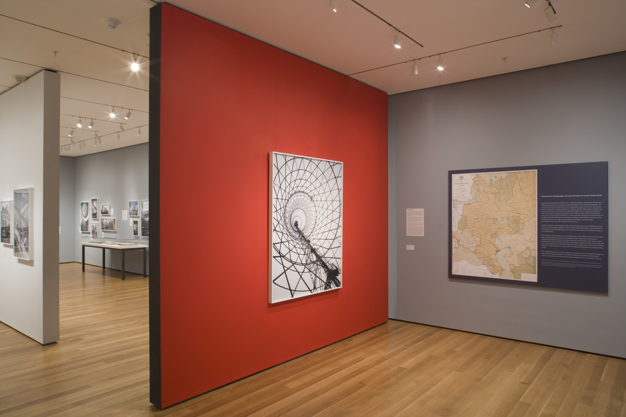 Installation view of Lost Vanguard: Soviet Modernist Architecture, 1922–32. The Museum of Modern Art. Photo: John Wronn