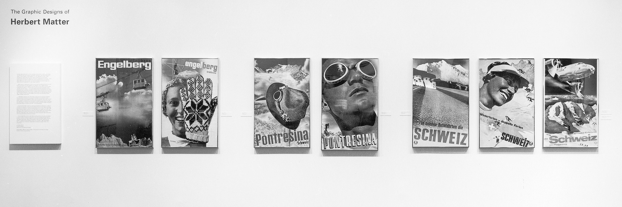 Installation view of The Graphic Designs of Herbert Matter at The Museum of Modern Art, New York. Photo: Mali Olatunji