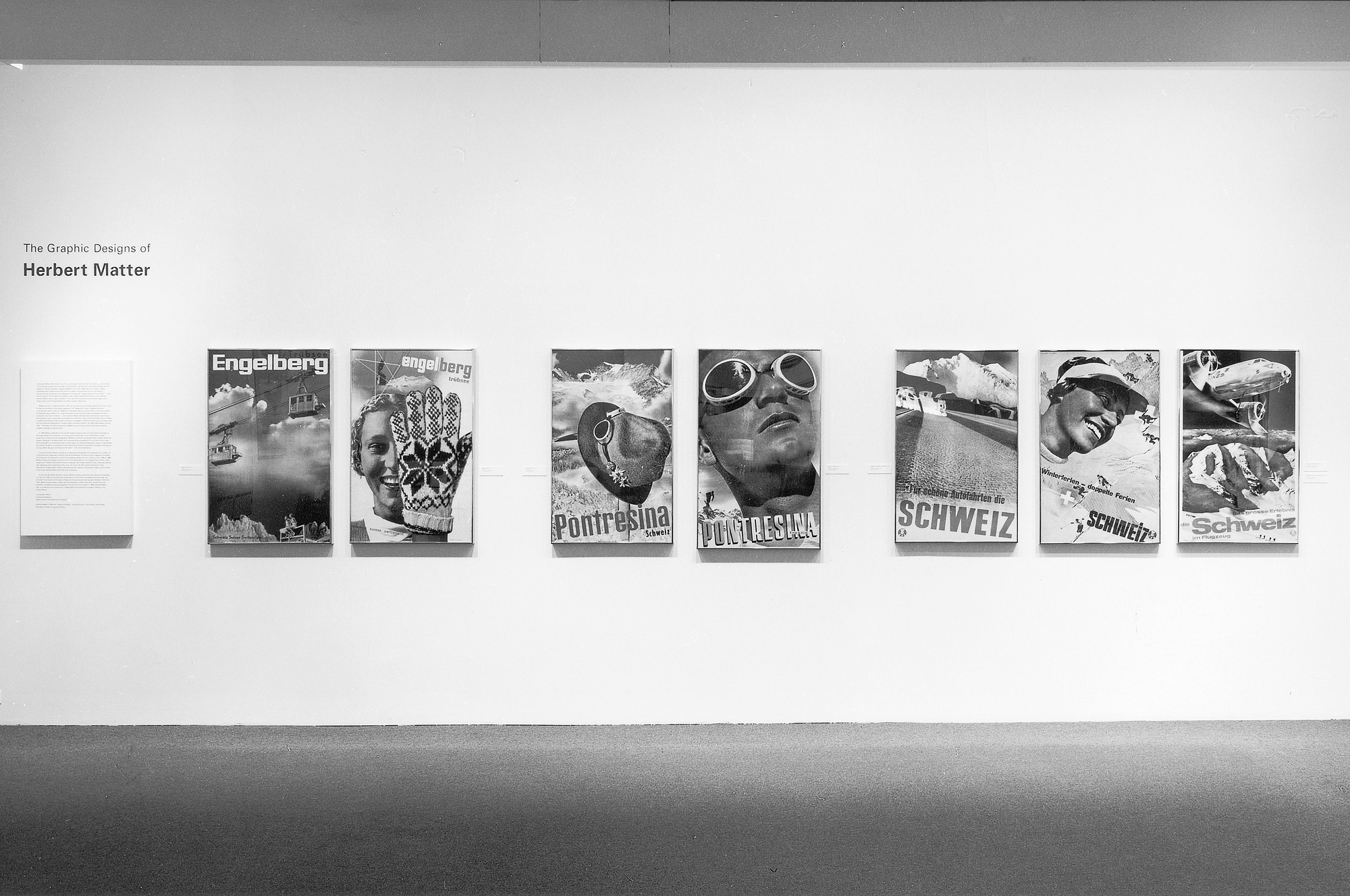 Installation view of the graphic designs of herbert matter at the museum of modern art