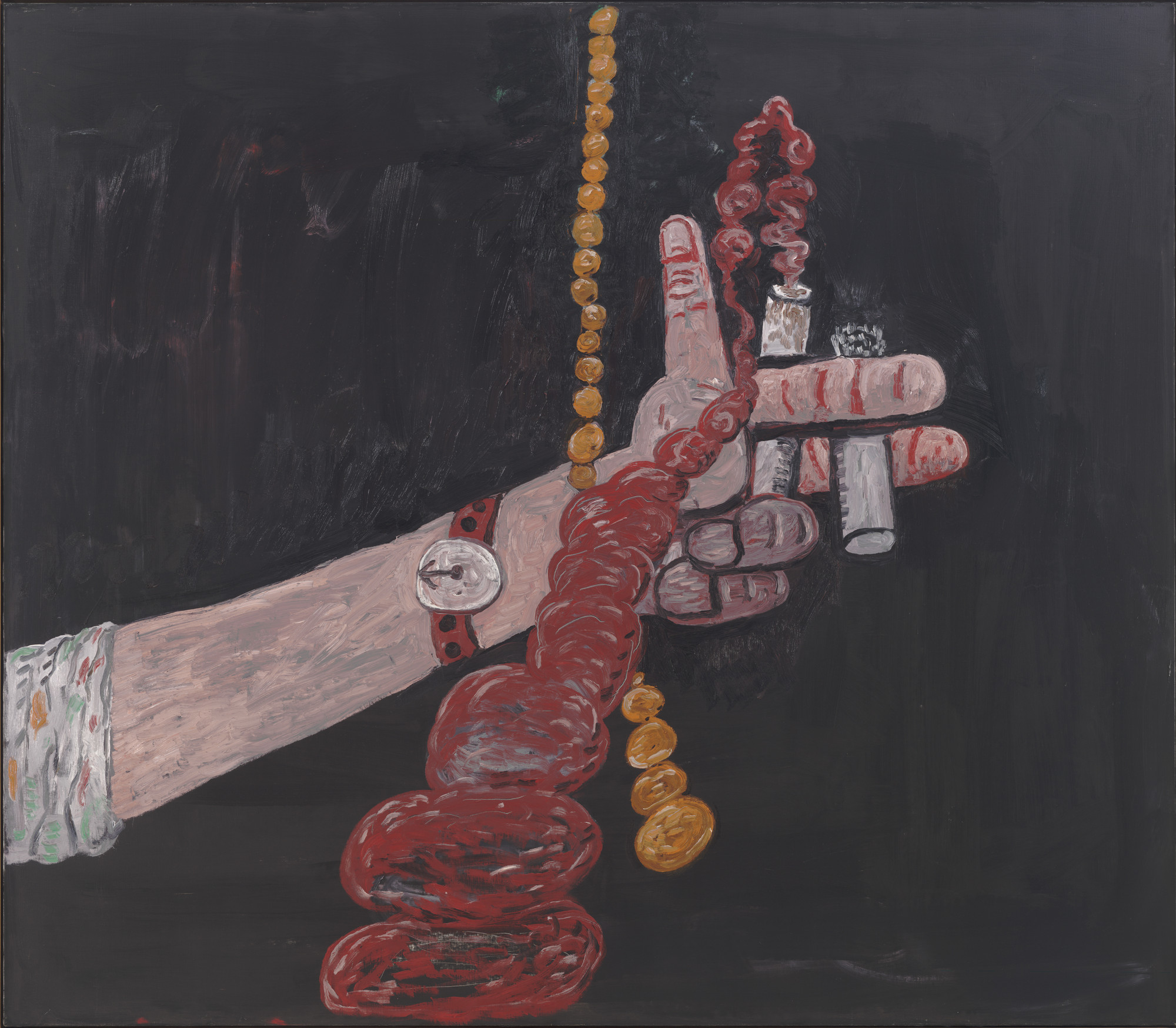 Philip Guston. Talking. 1979. Oil on canvas, 68 1/8″ × 6′ 6 1/4″ (173 × 198.8 cm). Gift of Edward R. Broida. © 2016 The Estate of Philip Guston