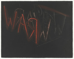 Bruce Nauman. *RAW-WAR.* 1971. Lithograph; composition 22 3/8 × 28 1/4″ (56.9 × 71.7 cm); sheet 22 3/8 × 28 1/4″ (56 × 71.7 cm). Publisher: Castelli Graphics, New York, and Nicholas Wilder Gallery, Los Angeles. Printer: Cirrus Editions, Ltd., Los Angeles. Edition: 100. John B. Turner Fund. © 2016 Bruce Nauman / Artists Rights Society (ARS), New York