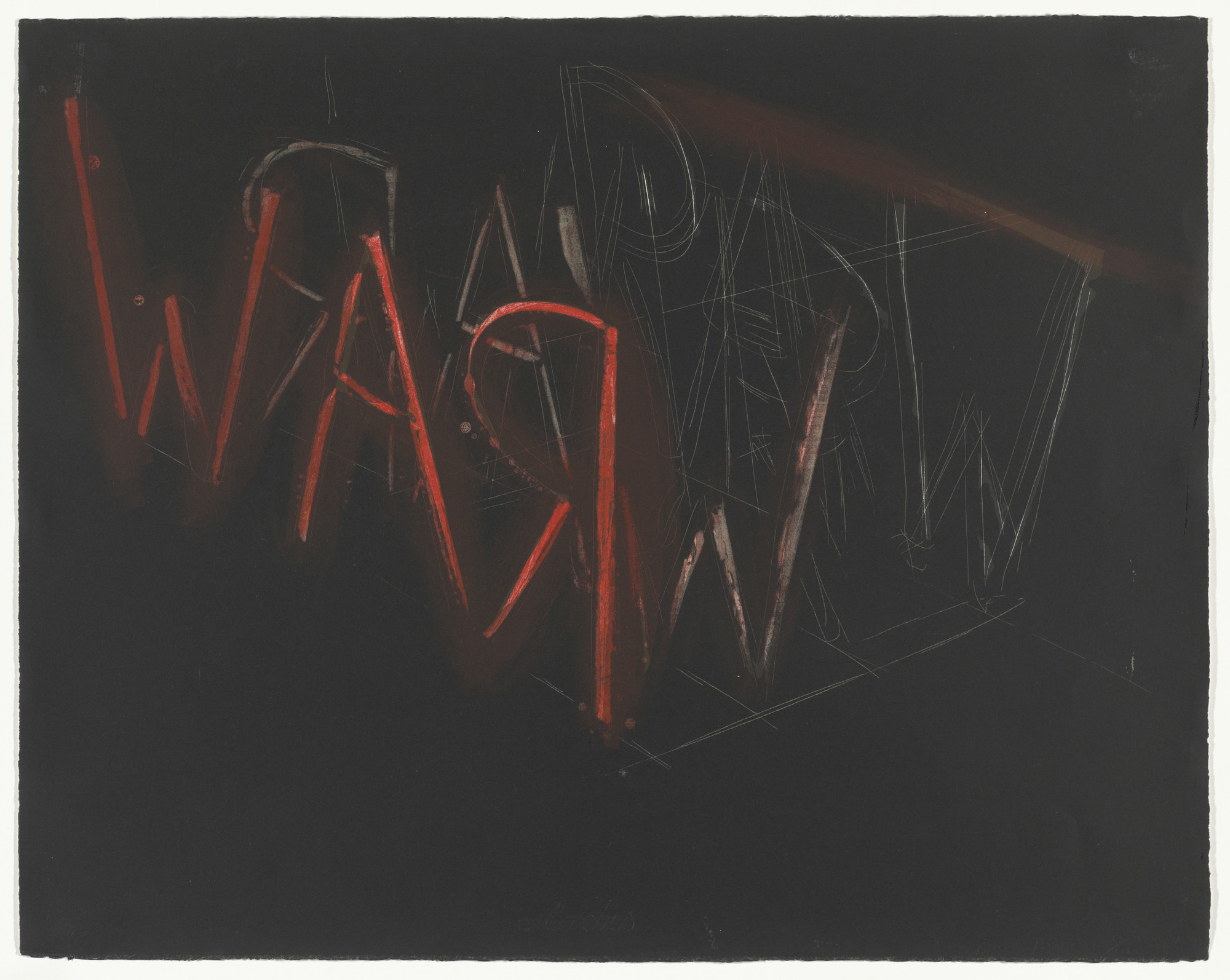 Bruce Nauman. RAW-WAR. 1971. Lithograph; composition 22 3⁄8 × 28 1/4″ (56.9 × 71.7 cm); sheet 22 3⁄8 × 28 1/4″ (56 × 71.7 cm). Publisher: Castelli Graphics, New York, and Nicholas Wilder Gallery, Los Angeles. Printer: Cirrus Editions, Ltd., Los Angeles. Edition: 100. John B. Turner Fund. © 2016 Bruce Nauman / Artists Rights Society (ARS), New York