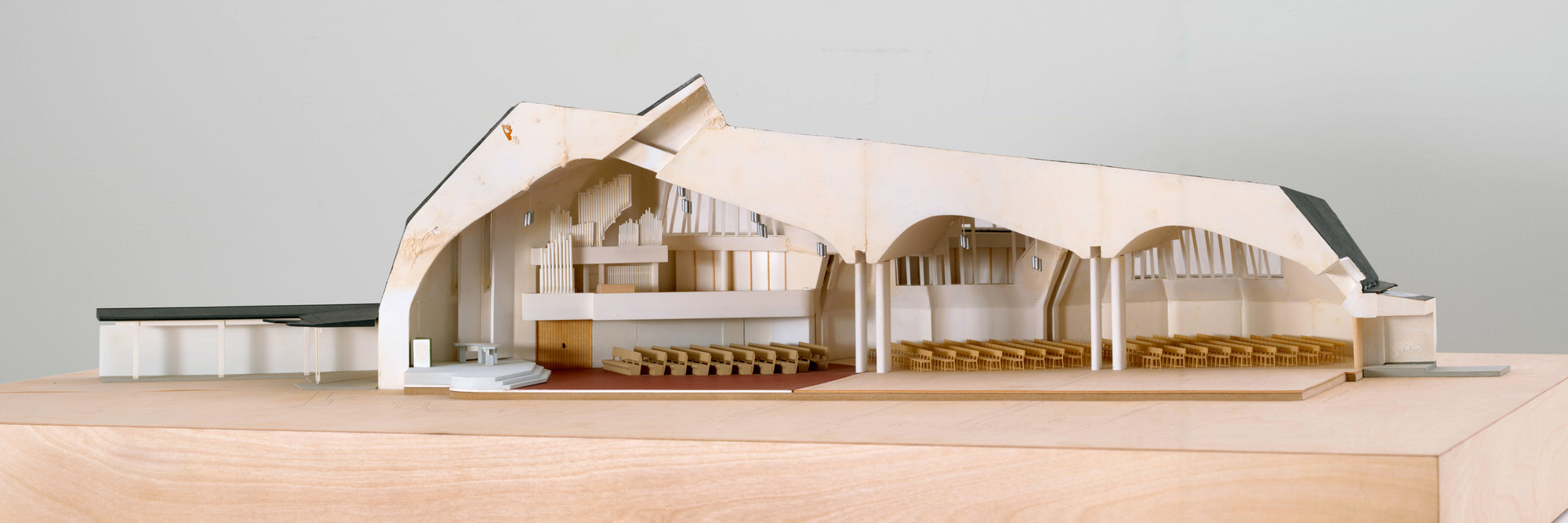 Alvar Aalto. Church of the Three Crosses, Vuoksenniska, Imatra, Finland, 1955–58. Plastic, cardboard, and synthetic polymer paint, 15 × 30 × 54″ (38.1 × 76.2 × 137.1 cm). Model Makers: Richard Sturgeon, Derek Conde. Purchase