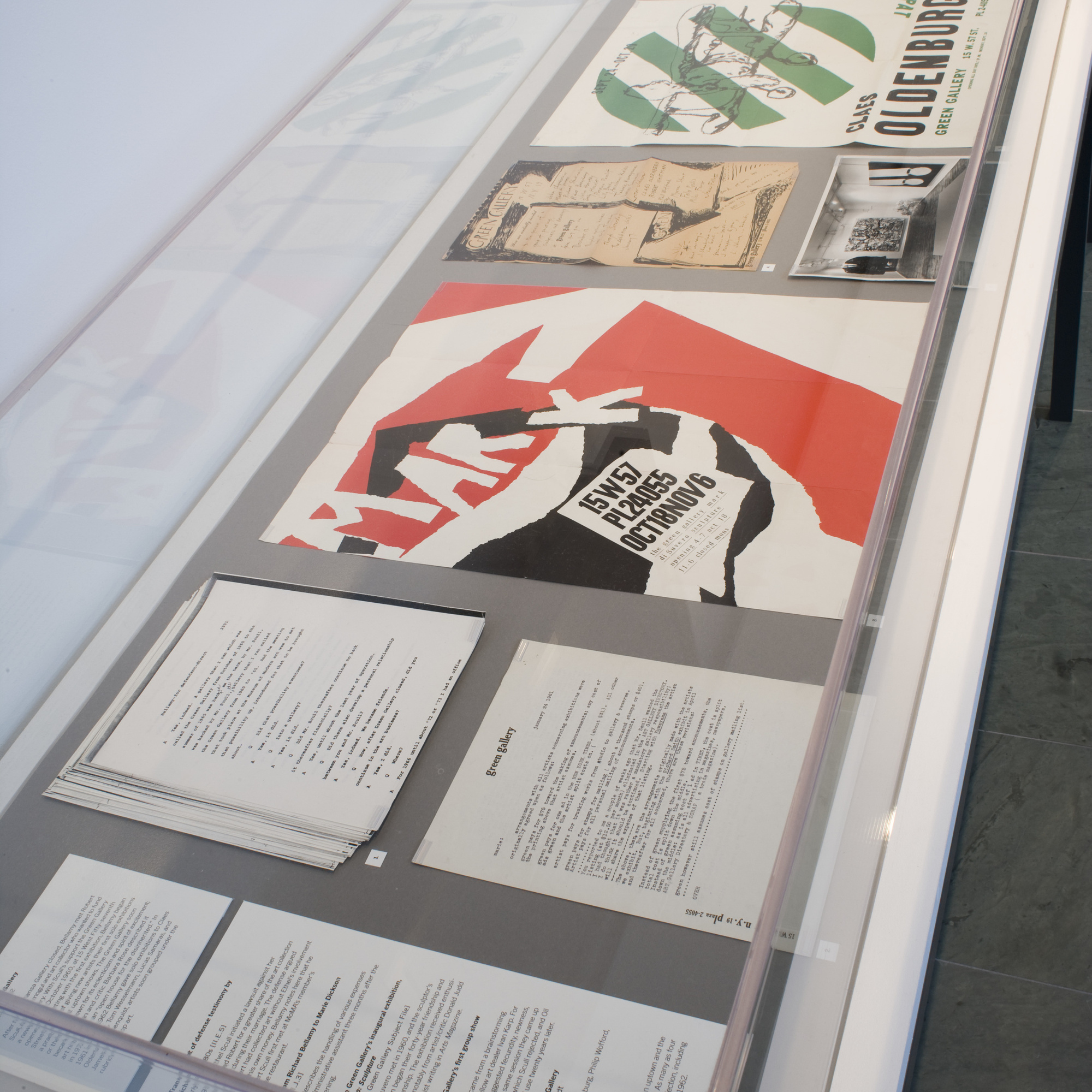 Installation view of The Dealer as Co-Conspirator: Selections from the Richard Bellamy Papers in The Museum of Modern Art Archives. © 2016 The Museum of Modern Art, New York. Photo: Thomas Griesel