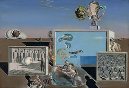 Salvador Dalí. *Illumined Pleasures.* 1929. Oil and collage on composition board, 9 3/8 × 13 3/4″ (23.8 × 34.7 cm). The Sidney and Harriet Janis Collection. Copyright © 2016 Salvador Dalí, Gala-Salvador Dalí Foundation / Artists Rights Society (ARS), New York