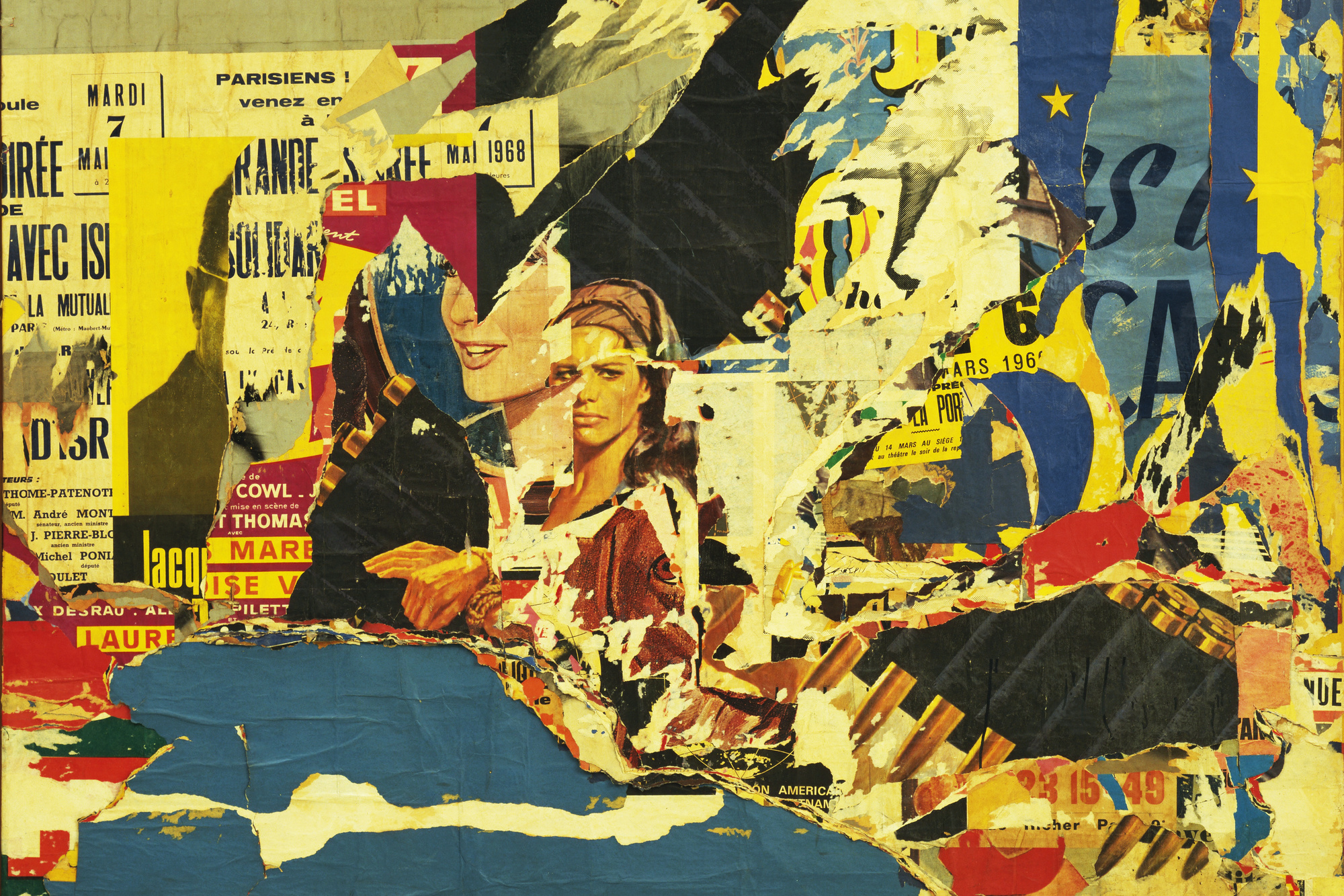 Jacques de la Villeglé. 122 rue du Temple. 1968. Torn and collaged painted and printed paper on linen, 62 5/8″ × 6' 10 3/4″ (159.2 × 210.3 cm). Gift of Joachim Aberbach (by exchange). © 2004 Artists Rights Society (ARS), New York/ADAGP, Paris