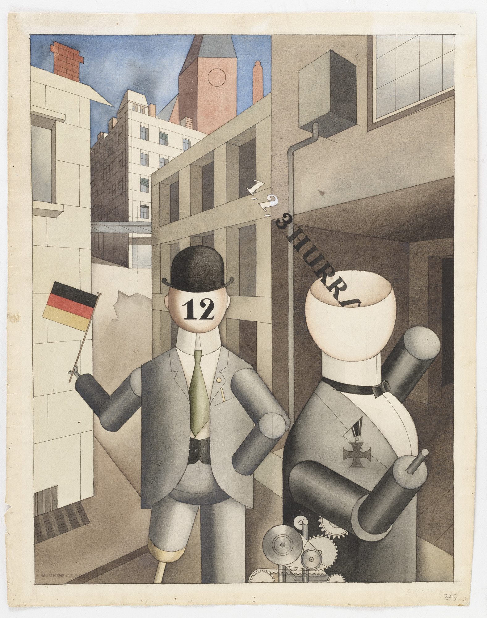 George Grosz. Republican Automatons (Republikanische Automaten). 1920. Watercolor and pencil on paper; 23 5/8 × 18 5/8″ (60 × 47.3 cm). The Museum of Modern Art, New York. Advisory Committee Fund. © 2003 The Museum of Modern Art, New York. © 2003 Artists Rights Society (ARS), New York/VG Bildkunst, Bonn