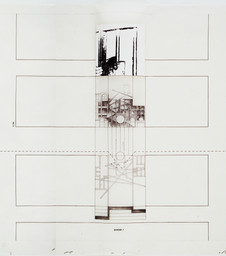 Bernard Tschumi. The Manhattan Transcripts, Episode 2: The Street (Border Crossing) (detail). 1978. Ink, charcoal, graphite, cut-and-pasted photographic reproductions, Letraset type, and color pencil on tracing paper, 24″ × 32′ 2″ (61 × 980.4 cm). The Museum of Modern Art, New York. Purchase and partial gift of the architect in honor of Lily Auchincloss