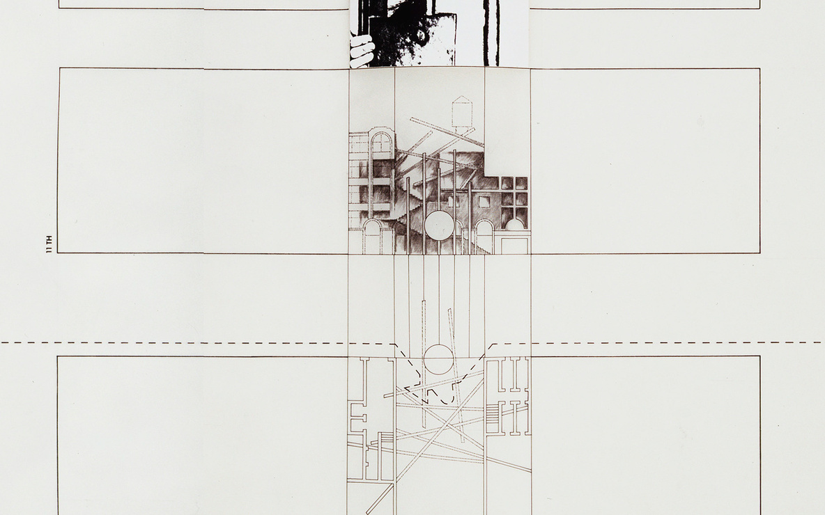 Bernard Tschumi. *The Manhattan Transcripts, Episode 2: The Street (Border Crossing)* (detail). 1978. Ink, charcoal, graphite, cut-and-pasted photographic reproductions, Letraset type, and color pencil on tracing paper, 24″ × 32′ 2″ (61 × 980.4 cm). The Museum of Modern Art, New York. Purchase and partial gift of the architect in honor of Lily Auchincloss