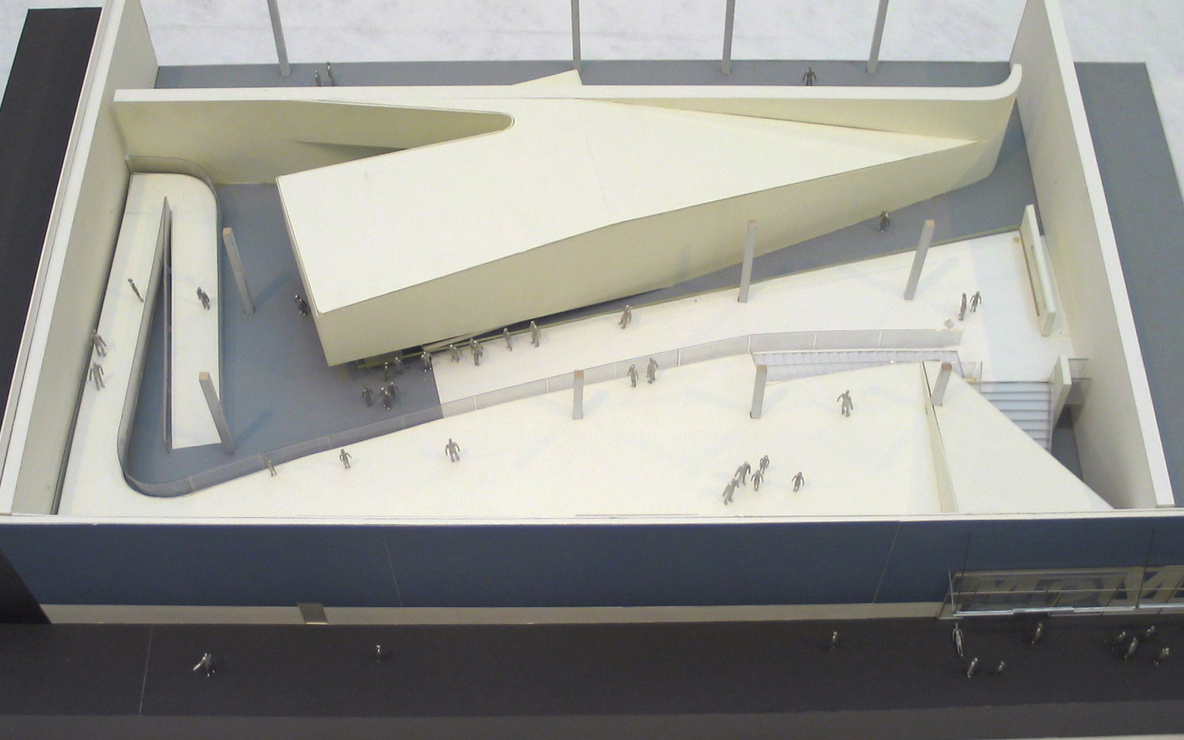 Michael Maltzan. MoMA QNS, Long Island City, New York, Model of Lobby. 1999–2002. Foamcore, board, wood, synthetic polymer paint and acrylic, 11 1/4 × 47 7/8 × 29″ (28.6 × 121.6 × 73.7 cm). Gift of the architect. © 2016 Michael Maltzan