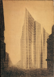 Ludwig Mies van der Rohe. Friedrichstrasse Skyscraper Project, Berlin-Mitte, Germany (Exterior perspective from north). 1921. Charcoal and graphite on paper mounted on board, 68 1/4 × 48″ (173.4 × 121.9 cm). Mies van der Rohe Archive, gift of the architect. © 2016 Artists Rights Society (ARS), New York / VG Bild-Kunst, Bonn