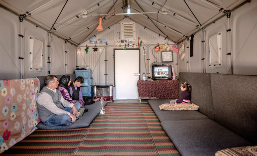 Interior of a Better Shelter prototype in Kawergosk Refugee Camp, Erbil, Iraq. Better Shelter. 2015.