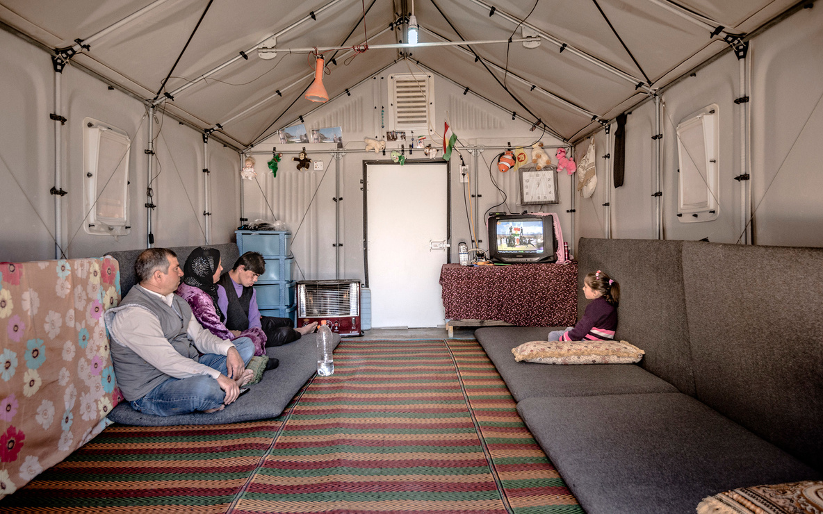 Interior of a Better Shelter prototype in Kawergosk Refugee Camp, Erbil, Iraq. *Better Shelter*. 2015.