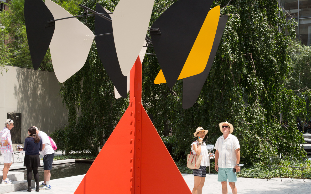 Image of The Abby Aldrich Rockefeller Sculpture Garden at The Museum of Modern Art. Pictured: Alexander Calder. *Sandy's Butterfly.* 1964. Painted sheet steel and iron rods. Gift of the artist. © 2016 Calder Foundation, New York/Artists Rights Society (ARS), New York. Photos: Gus Powell