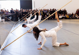 Trisha Brown Dance Company. *Sticks.* 1973. Performed at The Museum of Modern Art, 2011. © Yi-Chun Wu / The Museum of Modern Art, New York