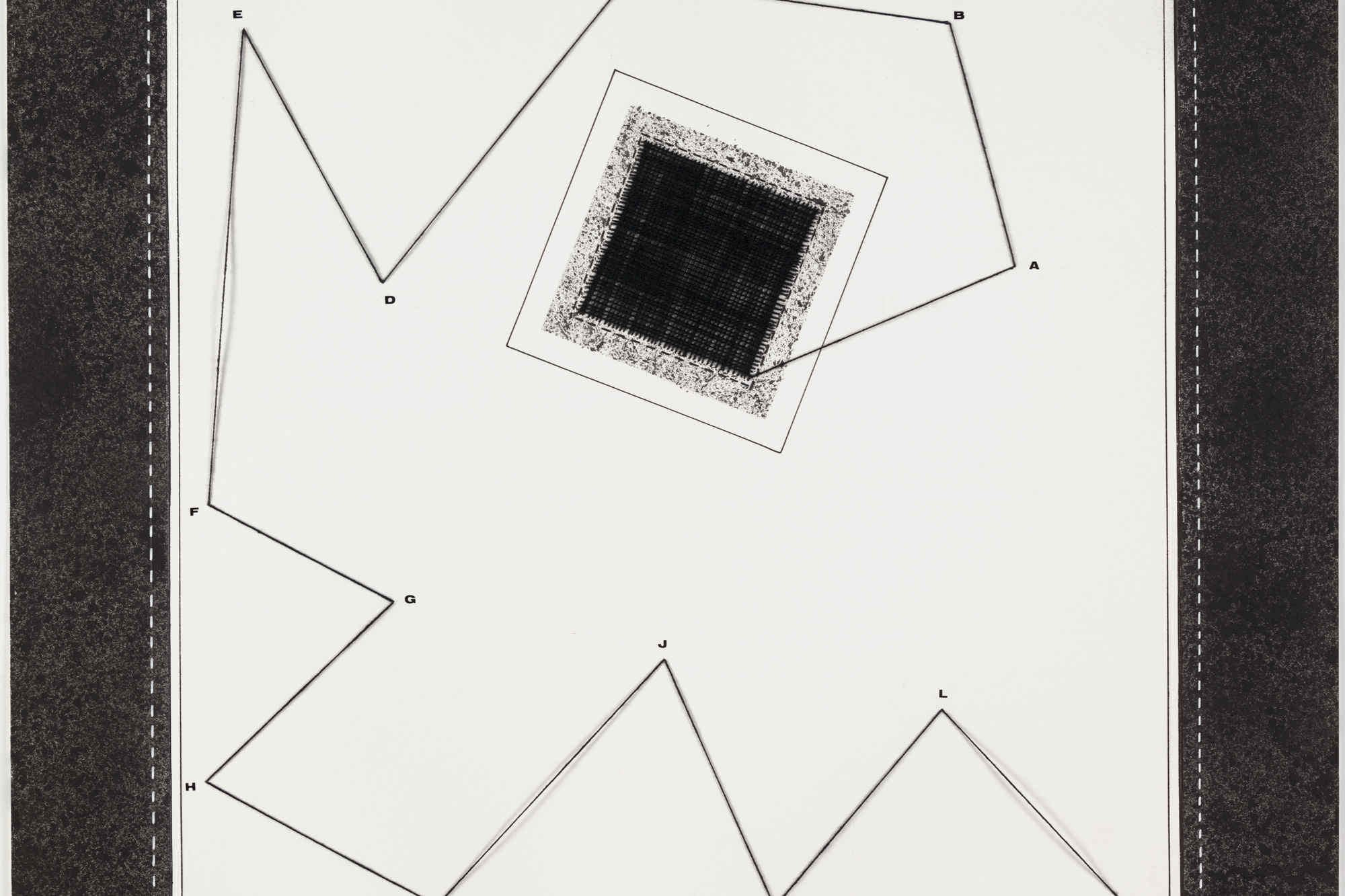 Anna Maria Maiolino. Desde A até M (From A to M), from the series Mapas Mentais (Mental Maps). 1972–99. Thread, synthetic polymer paint, ink, transfer type, and pencil on paper, 19 5/8 × 19 1/2″ (49.8 × 49.5 cm). The Museum of Modern Art, purchase
