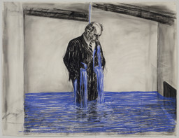 William Kentridge. *Drawing from Stereoscope.* 1998–99. Charcoal, pastel, and colored pencil on paper, 47 1/4 × 63″ (120 × 160 cm). The Museum of Modern Art, New York. Gift of The Junior Associates of The Museum of Modern Art, with special contributions from Anonymous, Scott J. Lorinsky, Yasufumi Nakamura, and The Wider Foundation