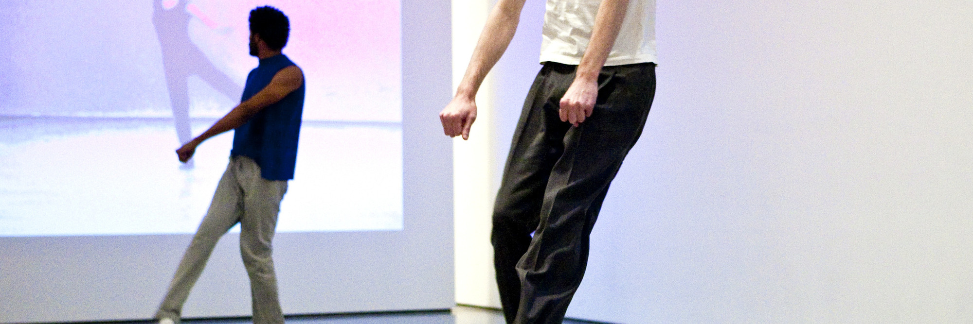 Yvonne Rainer. <em>Trio A.</em> 1965. Performed by Jimmy Robert and Ian White at TheMuseum of Modern Art, 2009. © 2009 Yi-Chun Wu / The Museum of Modern Art