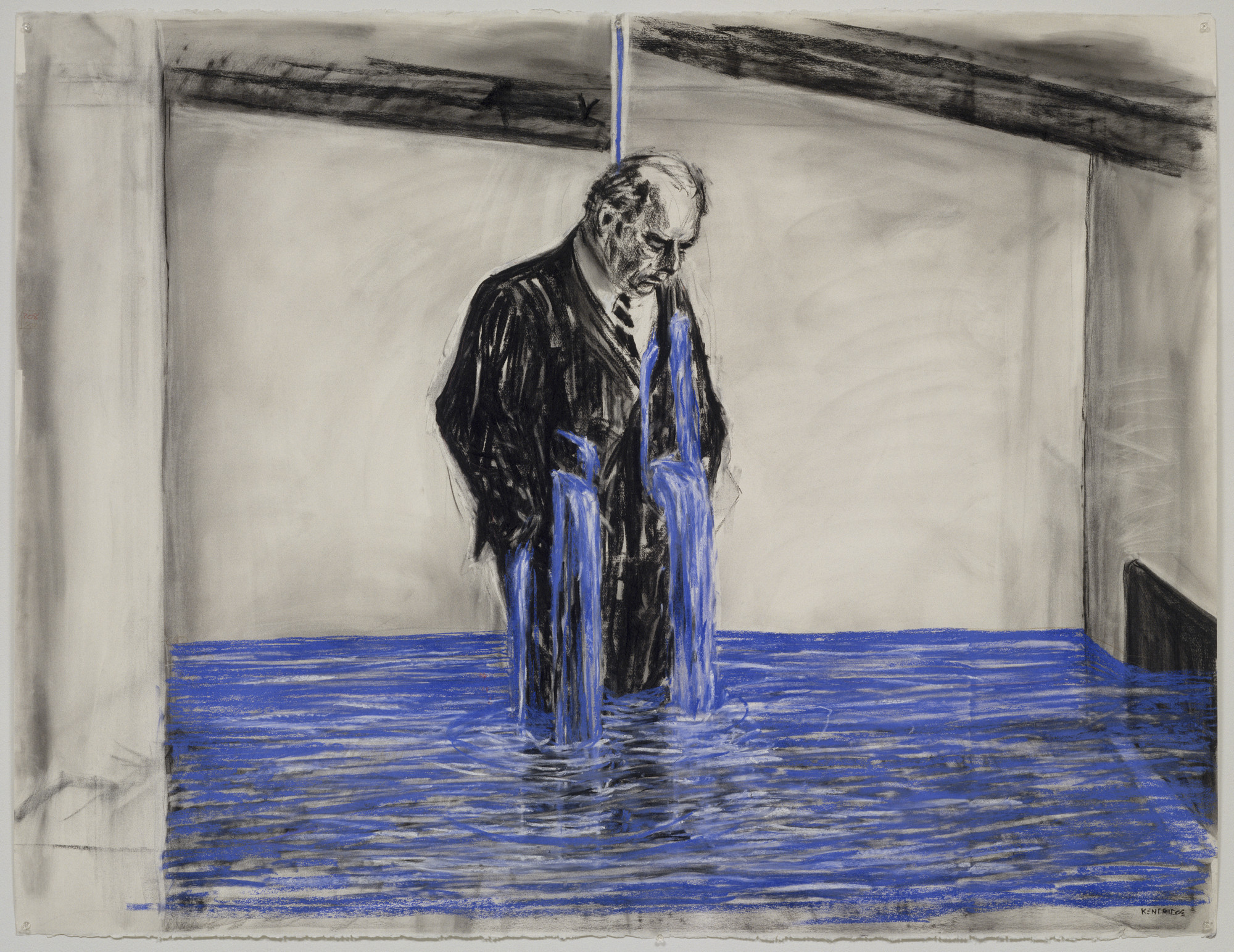 "William Kentridge. Drawing from Stereoscope, ""Untitled."" 1998–99. Charcoal, pastel, and colored pencil on paper, 47 1/4 × 63″ (120 × 160 cm). The Museum of Modern Art, New York. Gift of The Junior Associates of The Museum of Modern Art, with special contributions from Anonymous, Scott J. Lorinsky, Yasufumi Nakamura, and The Wider Foundation"