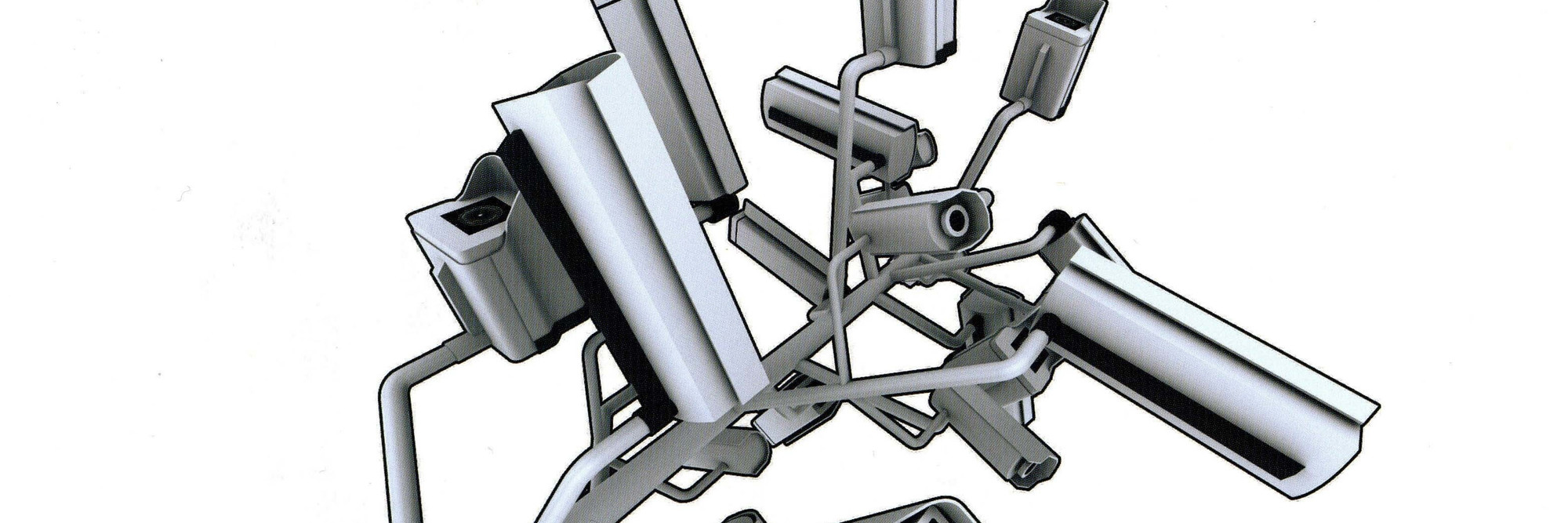 Raúl Cárdenas Osuna. Securitree transmitter. Prototype. 2004. Steel, 24″ × 57″ × 7′3″ (61 × 144.8 × 221 cm). Prototype by Bernardo Gutiérrez and Ana Martínez, Mexico (2004). Torolab and OMR Gallery. Photo: Raúl Cárdenas Osuna and Shijune Takeda