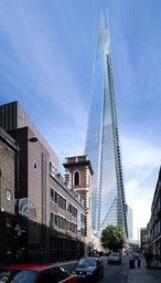 Renzo Piano | Renzo Piano Building Workshop, architect; Paul Nuttall | Ove Arup & Partners, engineer. London Bridge Tower, London, England. View from the street (computer-generated image). Design 2000–03; projected completion 2009. 1,016 feet (310 meters) high