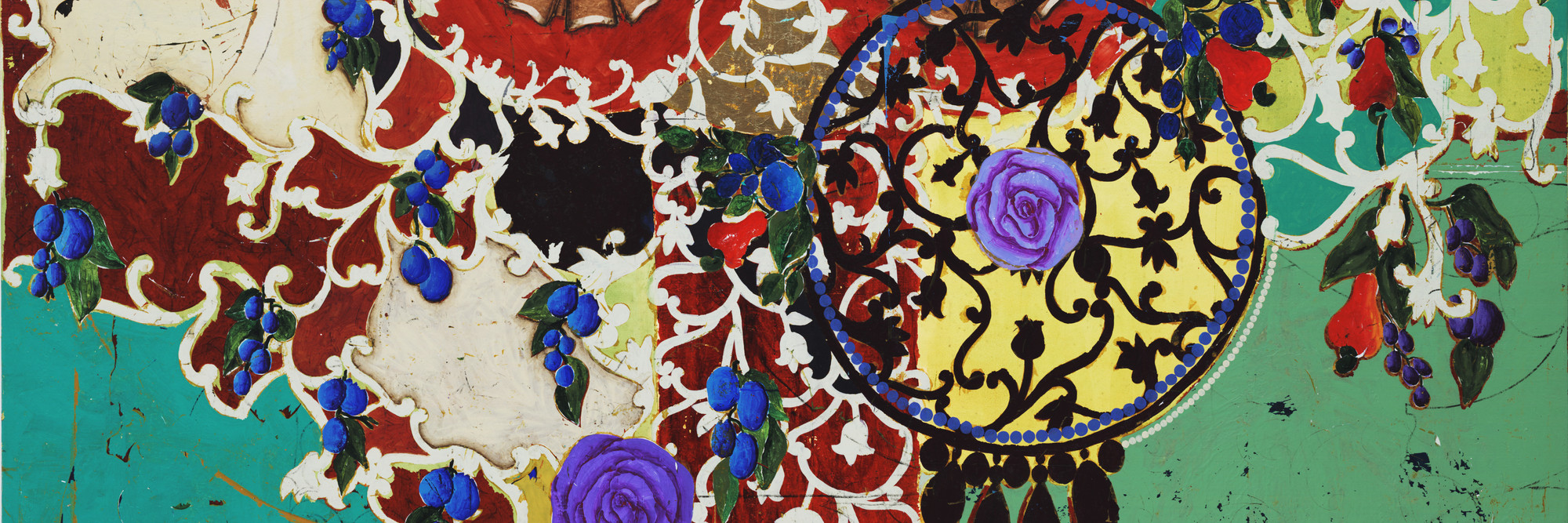Beatriz Milhazes. Succulent Eggplants. 1996. Synthetic polymer on canvas, 74 3/4 × 96 1/2″ (189.9 × 245.1 cm). The Museum of Modern Art, New York. Gift of Agnes Gund and Nina and Gordon Bunshaft Bequest Fund. © 2003 Beatriz Milhazes