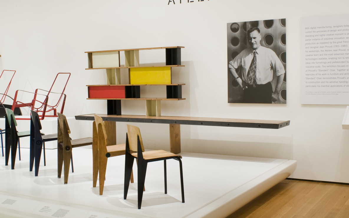 Installation view of *Ateliers Jean Prouvé* at The Museum of Modern Art, New York. Photo: Thomas Griesel