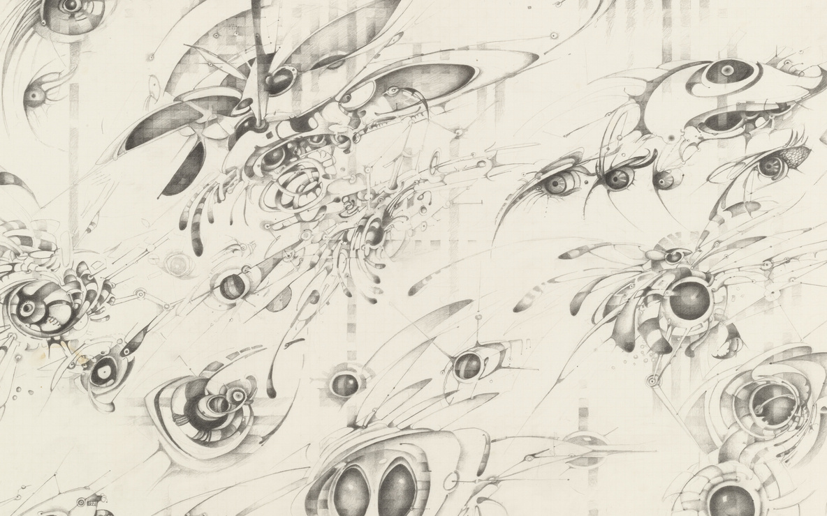 Lee Bontecou. *Untitled.* 1997. Pencil on graph paper, 22 × 30″ (55.9 × 76.2 cm). The Judith Rothschild Foundation Contemporary Drawings Collection Gift. © 2016 Lee Bontecou