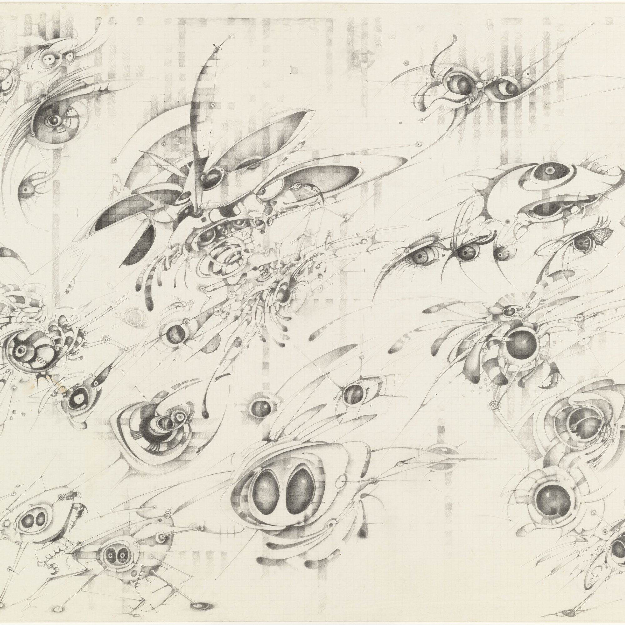 Lee Bontecou. Untitled. 1997. Pencil on graph paper, 22 × 30″ (55.9 × 76.2 cm). The Judith Rothschild Foundation Contemporary Drawings Collection Gift. © 2016 Lee Bontecou