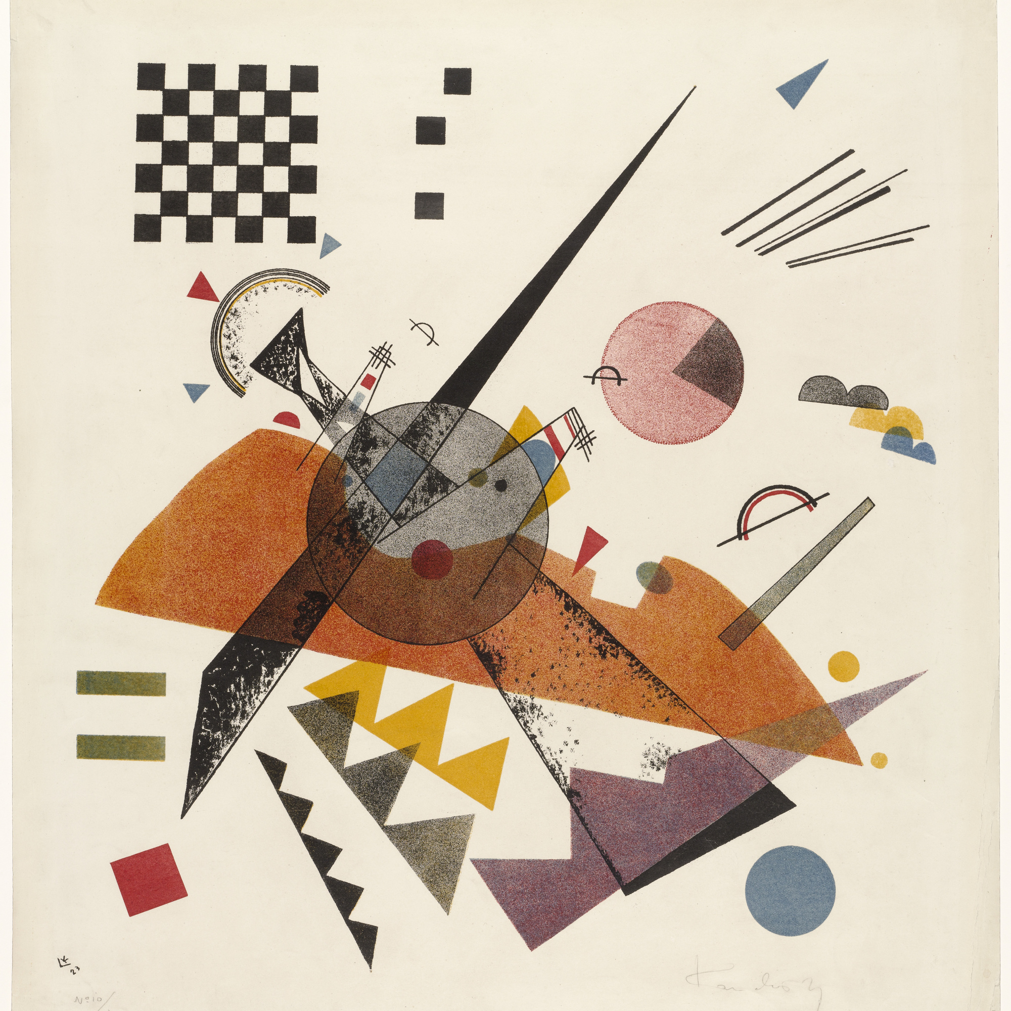 Vasily Kandinsky. Orange. 1923. Lithograph. Sheet: 19 × 17 7/16″ (48.2 × 44.3 cm). Publisher and printer: Staatliches Bauhaus, Weimar. Edition: 50. The Museum of Modern Art, New York. Purchase, 1949. © 2005 Artists RightsSociety (ARS), New York/ADAGP, Paris