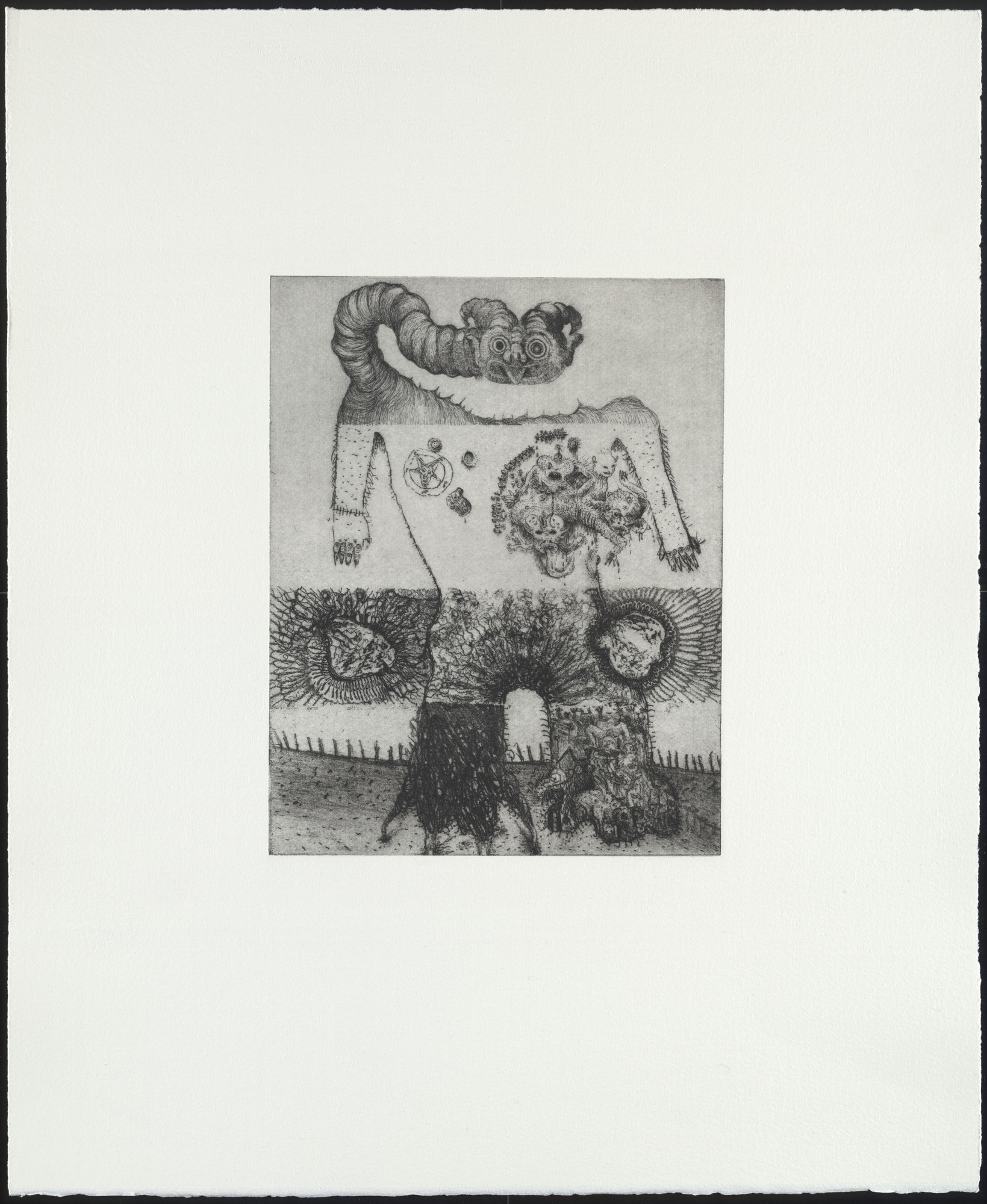 Dinos and Jake Chapman. Untitled, from the portfolio Exquisite Corpse. 2000. Etching. Plate: 9 1⁄16 × 7 1/16″ (23 × 18 cm). Publisher: The Paragon Press, London. Printer: Hope (Sufferance) Press, London. Edition: 30. The Museum of Modern Art. Roxanne H. Frank Fund