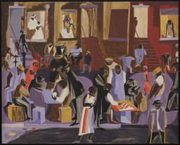 Jacob Lawrence. Street Shadows. 1959. Tempera on gesso on board, 24 × 29 7/8″ (61 × 75.9 cm). The Museum of Modern Art, New York. Gift of Ellen Kern in memory of her parents, Lewis and Jewel Garlick. © Gwendolyn Knight Lawrence, courtesy the Jacob and Gwendolyn Lawrence Foundation
