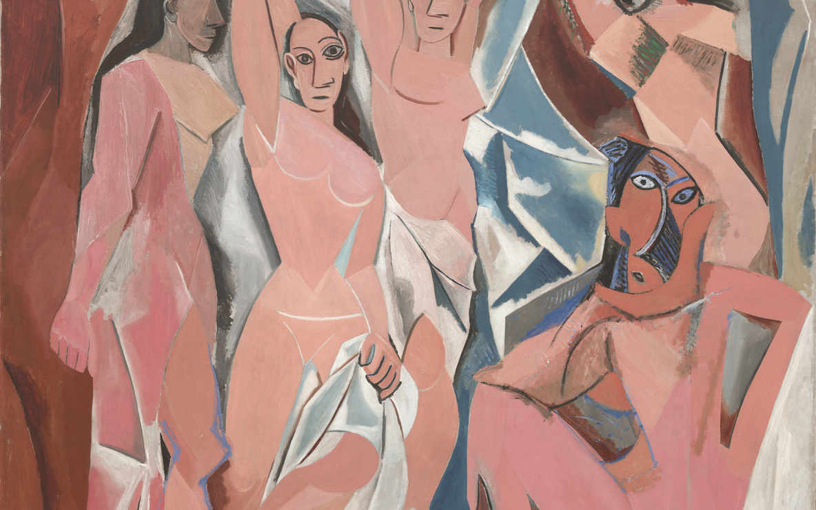 Pablo Picasso. *Les Demoiselles d'Avignon.* 1907. Oil on canvas, 8′ × 7′ 8″ (243.9 × 223.7 cm). The Museum of Modern Art, New York. Acquired through the Lillie P. Bliss Bequest. Photograph © 1997 The Museum of Modern Art, New York
