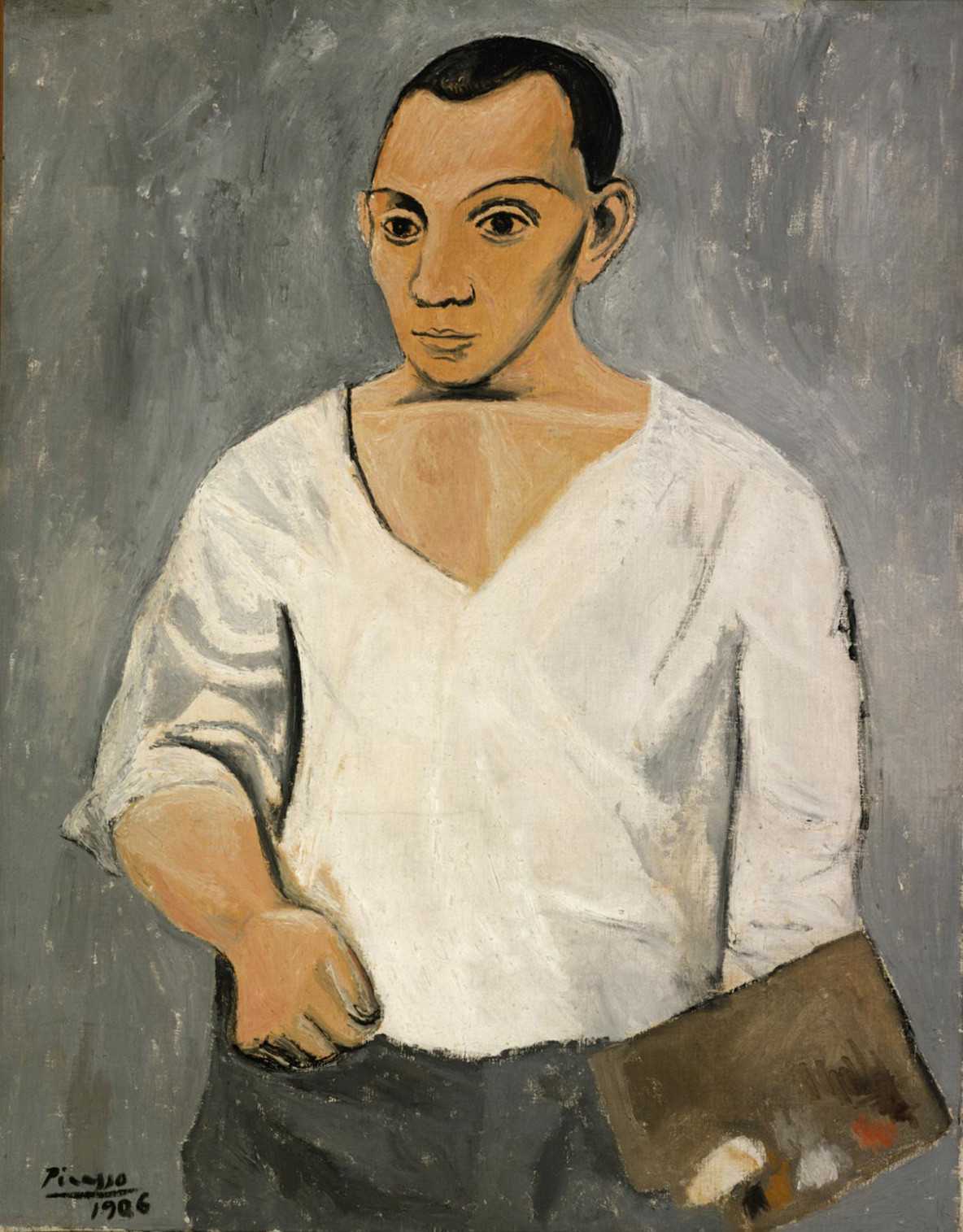 Pablo Picasso. Self-Portrait with Palette. 1906. Oil on canvas. 36 1⁄4 × 28 3/4″ (92 × 73 cm). Philadelphia Museum of Art: The A.E. Gallatin Collection, 1950. © 2003 Estate of Pablo Picasso/Artists Rights Society (ARS), New York