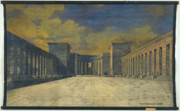 Ludwig Mies van der Rohe. Bismarck Monument, Bingen, Germany, perspective view of courtyard. 1910. Gouache on linen, 55 1/2 × 94 1/2″ (141 × 240 cm). Rob Beyer Purchase Fund, Edward Larrabee Barnes Purchase Fund, Marcel Breuer Purchase Fund, and Philip Johnson Purchase Fund. © 2016 Artists Rights Society (ARS), New York / VG Bild-Kunst, Bonn