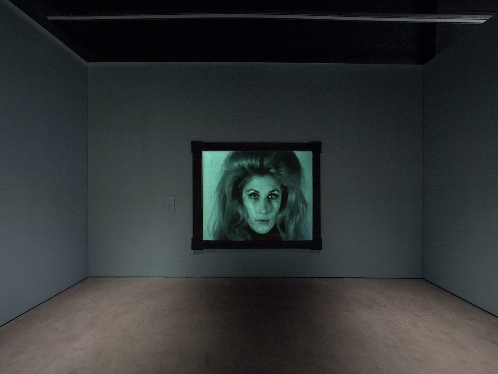 Installation view of Andy Warhol: Screen Tests at The Museum of Modern Art, New York
