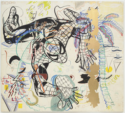 Sigmar Polke. Spiderman 1971–74. Cut-and-pasted painted papers on canvas, 9′ 3 1/4″ × 10′ 3″ (282.6 × 213.4 cm). Purchased with funds given by Leon D. Black, Marie-Josée and Henry R. Kravis, Jo Carole and Ronald S. Lauder, and the Richard E. Salomon Family. © 2016 Estate of Sigmar Polke / Artists Rights Society (ARS), New York / VG Bild-Kunst, Bonn, Germany