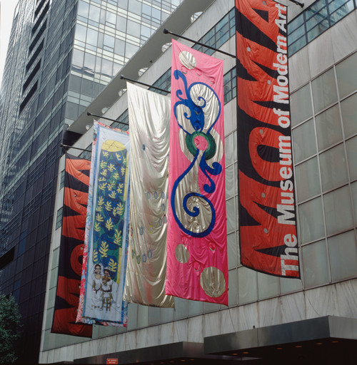 Installation view of *Projects 70: Jim Hodges, Beatriz Milhazes, Faith Ringgold (Banners, Series 2)* at The Museum of Modern Art, New York