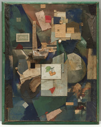 Kurt Schwitters. Merz Picture 32A. Cherry Picture (Merzbild 32A. Kas Kirschbild). 1921. Cut-and-pasted colored and printed papers, cloth, wood, metal, cork, oil, gouache, pencil, and ink on cardboard, 36 1/8 × 27 3/4″ (91.8 × 70.5 cm). The Museum of Modern Art, New York. Mr. and Mrs. A. Atwater Kent, Jr. Fund