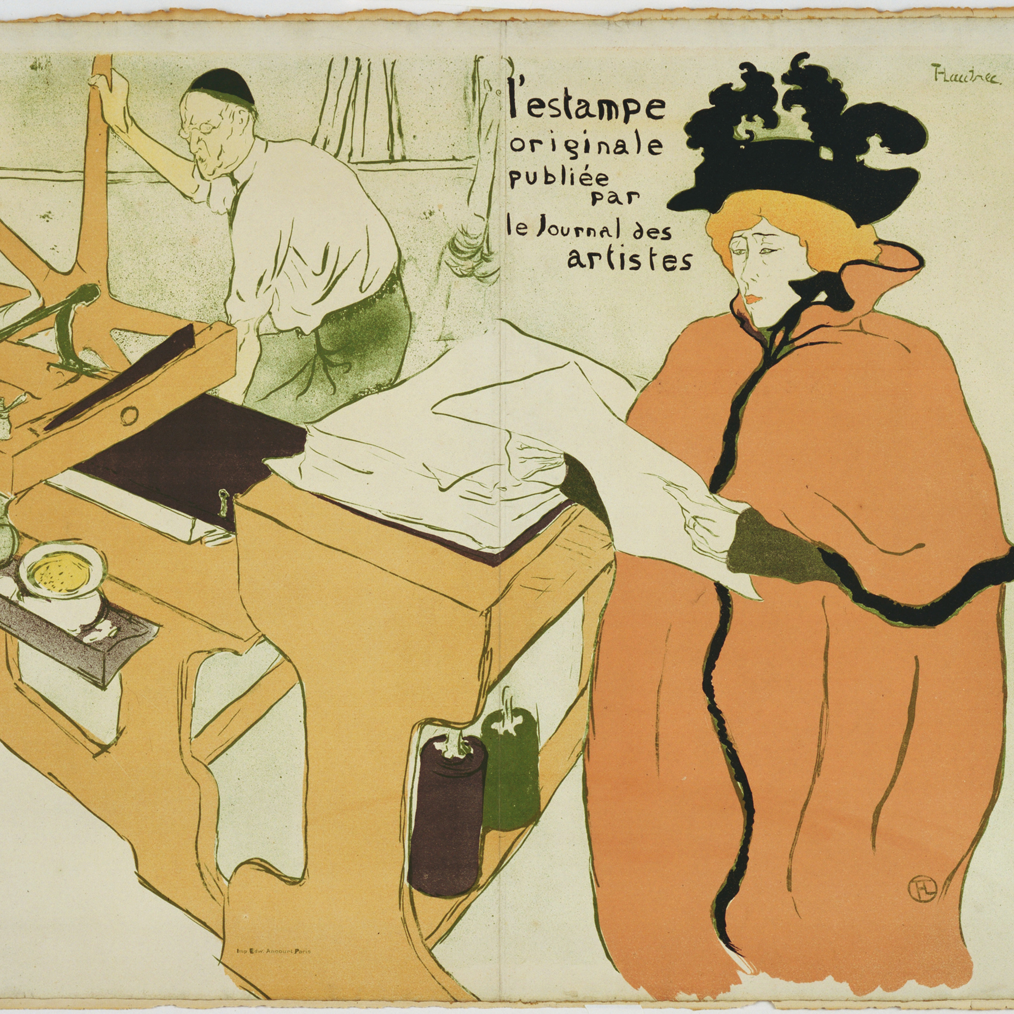 Henri de Toulouse-Lautrec. Cover for the portfolio L'Estampe originale (The Original Print). 1893. Lithograph, 22 1/4 × 25 11/16″ (56.5 × 65.2 cm). Publisher: Editions du Journal des artistes, Paris. Printer: Edward Ancourt, Paris. Edition: 100. The Museum of Modern Art, New York. Grace M. Mayer Bequest