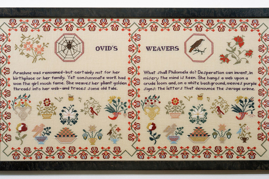 Elaine Reichek. Sampler (Ovid's Weavers). 1996. Embroidery on linen, 19 1/4 × 35″ (48.9 × 88.9 cm). Collection Melva Bucksbaum, Aspen. Part of the installation When This You See… (1996–1999)