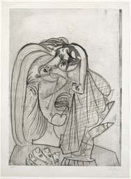 Pablo Picasso. The Weeping Woman, I (La Femme qui pleure, I), State III. July 1, 1937. Drypoint, aquatint, etching, and scraper; plate: 27 1/8 × 19 1/2″ (68.9 × 49.5 cm); sheet: 30 5/16 × 22 5/16″ (77 × 56.7 cm). Publisher: the artist, Paris. Printer: Lacourière, Paris. Edition: 15. Acquired through the generosity of the Katsko Suzuki Memorial Fund, the Riva Castleman Endowment Fund, David Rockefeller, The Philip and Lynn Straus Foundation Fund, and Agnes Gund and Daniel Shapiro; Linda and Bill Goldstein, Mr. and Mrs. Herbert D. Schimmel, the Edward John Noble Foundation, and the Associates of the Department of Prints and Illustrated Books; The Cowles Charitable Trust, Nelson Blitz, Jr. with Catherine Woodard and Perri and Allison Blitz, Mary Ellen Meehan, and Anna Marie and Robert F. Shapiro; and Ruth and Louis Aledort, Carol and Bert Freidus, David S. Orentreich, M.D., and Susan and Peter Ralston. © 2016 Estate of Pablo Picasso / Artists Rights Society (ARS), New York