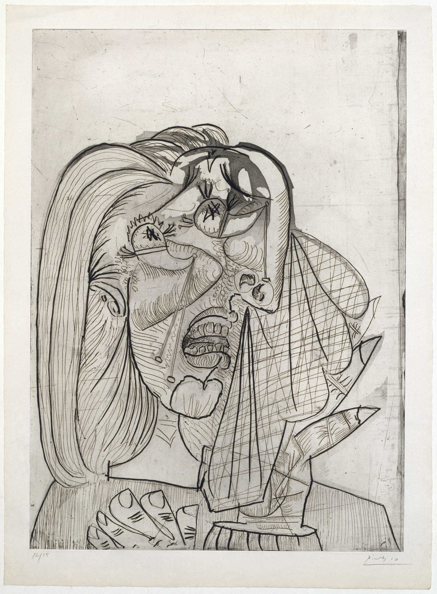 Pablo Picasso. The Weeping Woman, I (La Femme qui pleure, I), State III. July 1, 1937. Drypoint, aquatint, etching, and scraper; plate: 27 1⁄8 × 19 1/2″ (68.9 × 49.5 cm); sheet: 30 5⁄16 × 22 5/16″ (77 × 56.7 cm). Publisher: the artist, Paris. Printer: Lacourière, Paris. Edition: 15. Acquired through the generosity of the Katsko Suzuki Memorial Fund, the Riva Castleman Endowment Fund, David Rockefeller, The Philip and Lynn Straus Foundation Fund, and Agnes Gund and Daniel Shapiro; Linda and Bill Goldstein, Mr. and Mrs. Herbert D. Schimmel, the Edward John Noble Foundation, and the Associates of the Department of Prints and Illustrated Books; The Cowles Charitable Trust, Nelson Blitz, Jr. with Catherine Woodard and Perri and Allison Blitz, Mary Ellen Meehan, and Anna Marie and Robert F. Shapiro; and Ruth and Louis Aledort, Carol and Bert Freidus, David S. Orentreich, M.D., and Susan and Peter Ralston. © 2016 Estate of Pablo Picasso / Artists Rights Society (ARS), New York