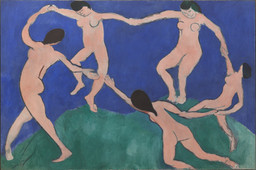 Henri Matisse. *Dance (I).* Paris, Boulevard des Invalides, early 1909. Oil on canvas, 8ʹ 6 1/2ʺ × 12ʹ 9 1/2ʺ (259.7 × 390.1 cm). Gift of Nelson A. Rockefeller in honor of Alfred H. Barr, Jr. © 2016 Succession H. Matisse / Artists Rights Society (ARS), New York