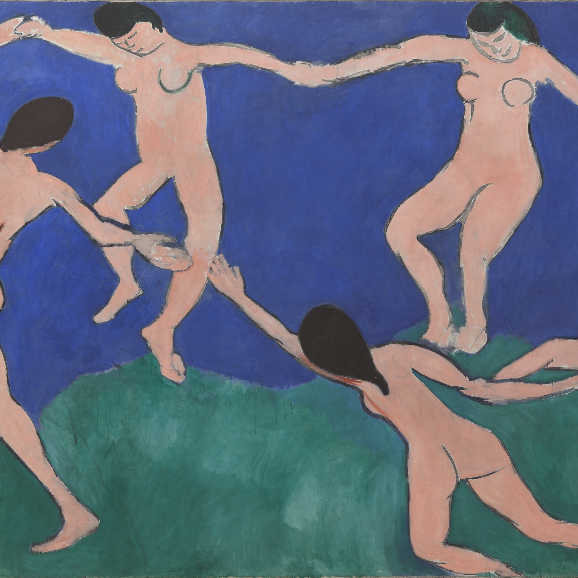 Henri Matisse. Dance (I). Paris, Boulevard des Invalides, early 1909. Oil on canvas, 8ʹ 6 1/2ʺ × 12ʹ 9 1/2ʺ (259.7 × 390.1 cm). Gift of Nelson A. Rockefeller in honor of Alfred H. Barr, Jr. © 2016 Succession H. Matisse / Artists Rights Society (ARS), New York